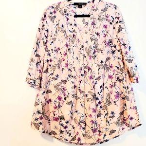 14W Denim 24/7 Pink Cotton Pintuck Shirt with Birds and Butterflies Print